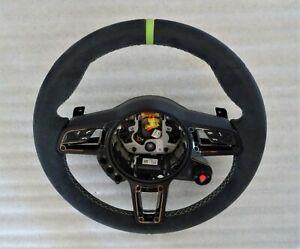 PORSCHE 918 SPORT STEERING CARBON FIBER PDK BLK TRIM ALCANTARA ACID TOP STRIP