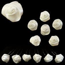 6 epingles pics cheveux chignon mariage classique rose en satin Blanc Blanche