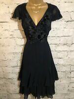 DKNY Donna Karan Ladies Navy Silk Black Velvet Applique Dress US 2  EU 34 UK 6
