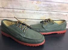 Quoddy Mens Green Boat Shoes Sz 10