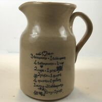 Vintage Ceramic England Stoneware Pitcher Creamer w/ Measurement Equivalents F/S