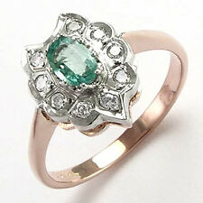 Diamond Emerald Antique Style Russian Ring in 14k White and rose Gold #R680.