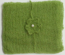 Spring Green Mohair Wrap and Matching Headband Photo Prop Newborn Photography