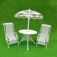MagiDeal 1/12 Dollhouse Miniature Table Chairs Set Garden Patio Accs White