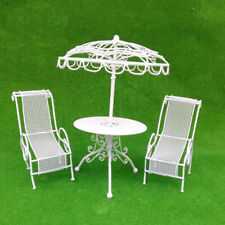 MagiDeal 1/12 Dollhouse Miniature Table Chairs Set Garden Patio Accs White