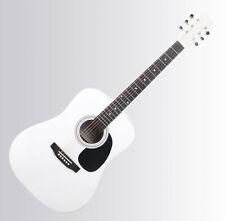 Guitare Acoustique Folk Western Blues Dreadnought 20 Frettes 6 Cordes Blanc