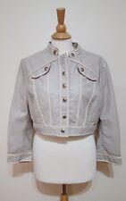 Sass & Bide Lamb Leather Trim Crop Beige Crop Jacket U.S. 4 AUS/UK 8 NWT $650.00