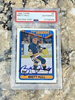 1990 Topps Brett Hull #4 Auto PSA/DNA Slabbed Authentic St Louis Blues
