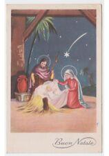 1956 cartolina fp TEL 823 augurale religiosa con Natività Sacra Famiglia Natale