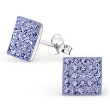 Sterling Silver Square Crystal Ear Studs -Tanzanite Blue - Gift Boxed