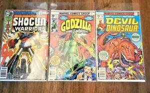 Marvel Comics Bronze Age Godzilla #1,Devil Dinosaur #1,Shogun Warriors #1, rare!