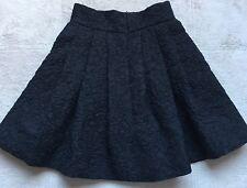 Dries Van Noten Cocktail Skirt, Size 2, Black, Wool & Silk Blend, Flared, Zipper