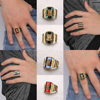 Men Gold Plated Stainless Steel Rhinestone 1973 Walton Tigers Signet Ring Cool