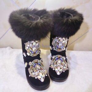 Luxury Women's Mid Calf Rhinestone Shoes Fur Winter Thicken Warm Knee Snow Boots