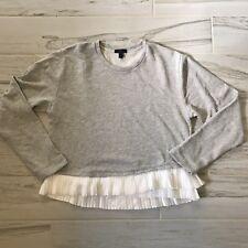 J Crew Womens Ruffle-Hem Sweatshirt Gray Heather - Size L