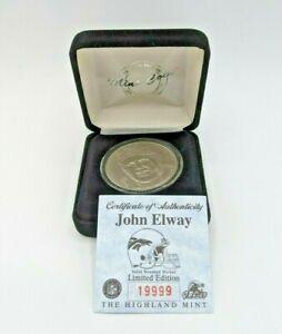 Denver Broncos JOHN ELWAY Highland Mint Coin NFL W/ COA  19999
