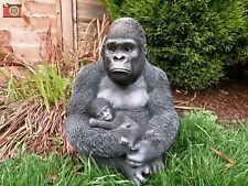 More details for silverback gorilla & baby, stunning life like home & garden ornament. vivid arts