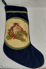 Vintage Blue Velvet Kitty Cat Needlepoint Christmas Stocking Victorian Style