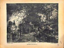 Fire Incendie Bombardemenr de Lille de Paul Madeline Peintre 1914 WWI