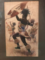 Watercolor by Hubert Whatley of an African tribal dance - framed
