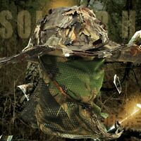 Camouflage Hunting Hat with Bionic 3D Real Tree Leaf Hunting Cap Fishing Ha L7V6