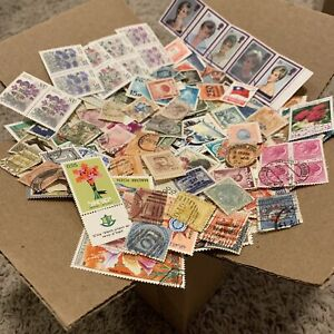 BOX LOT OF 1'000's OF OFF PAPER STAMPS FROM 100+ FOREIGN COUNTRIES (NO USA)
