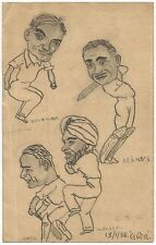 Cricket 1936 Indian team's tour of England sketches by cartoonist Lalit Booch Ӝ