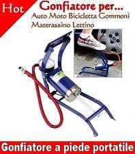 Gonfiatore a piede portatile per Auto Moto Bicicletta Pneumatico Gommoni Lettini
