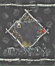 """Bear Paws """"In The Sticks """" Throw Blanket 50""""x60"""" with Sherpa Lining Outdoorsman"""