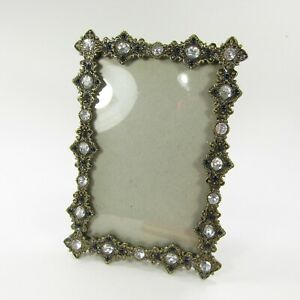 Picture Photo Frame Tabletop Ornate faux rhinestone ~ holds 5x7""