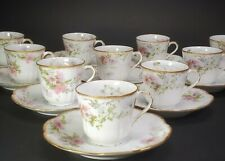 Lanternier Limoges Set of 10 Pink Mums Coffee Cups & Saucers