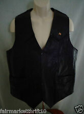 Milwaukee Leather Black Leather Motorcycle Vest Mens 46