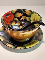 Lustreware Handpainted Made In Japan Serving Bowl, Saucer And Ladle