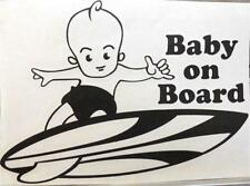 "9"" Vinyl Hawaiian Boy Baby on Board Short Surfboard Car Decal Sticker Black #1S"