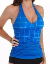 $96 NEW! SPANX Womens Geo Ruched Halter Tankini Top 6 Electric Blue UPF 50+