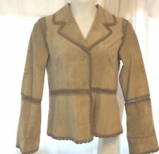Cowboy Authentic washable suede womens beige leather jacket COOL embroidery- L