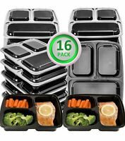 16 Pack Meal Prep 3 Compartment Containers Microwave Dishwasher Safe w/Lids 32OZ