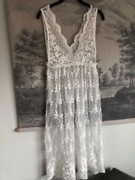 New Look White Lace Tulle Embroidered Midi Dress Size S Boho Festival