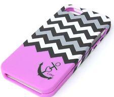 iPhone SE 5S HARD PROTECTOR CASE COVER PURPLE GREY BLACK CHEVRON ANCHOR W/ LOVE