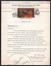 Coal Wood Gas Stoves Nashville TN Allen Manufacturing Co 1934 Letterhead Rare