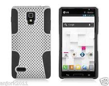 LG Optimus L9 P769 T-Mobile Mesh Hybrid Case Skin Cover White Black