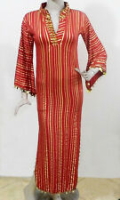 Egyptian Belly Dance Baladi Saidi Galabeya Dress Costume Red& Gold Stretchy