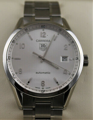 Tag Heuer Carrera Silver Calibre 5 Steel Automatic 39MM Classic WV211A Watch