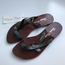 Emma Caine Grey Leather Toe Thong Sandals Size 37 / AU 6. Made In India