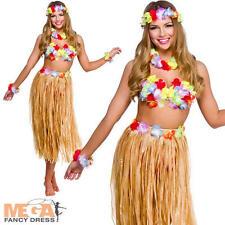 Hawaiian Girl Skirt & Leis Fancy Dress Ladies National Dress Womens Costume Set