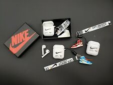 Off-White Inspired AirPods Silicone Soft Case with 3D mini Sneakers w/ Lanyard