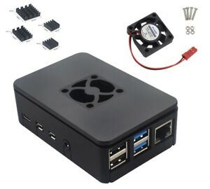 Raspberry Pi 4 Gehäuse mit Lüfter und Kühlkörper Case ABS neues Design schwarz
