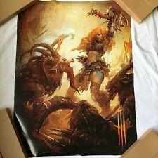 """Diablo 3 Cartel De Doble Cara Promo Gamescom 2013 coleccionista 60x79cm """"NUEVO"""" Raro"""