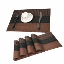 Famibay Bamboo PVC Weave Placemats Non-slip Table Mats for Kitchen Table Set of