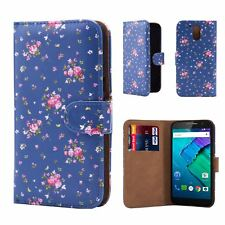 32nd Floral Series - Design PU Leather Book Wallet Case Cover for Motorola Moto